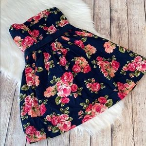 Forever 21 strapless floral print dress size small